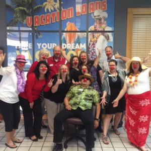 My new family at Texoma Community Credit Union, celebrating Red Nose Day.